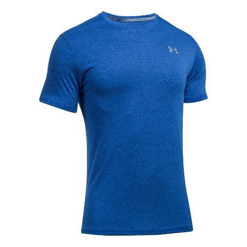 Mens Under Armour Threadborne Streaker Short Sleeve Technical Tops - Blue Marker XS