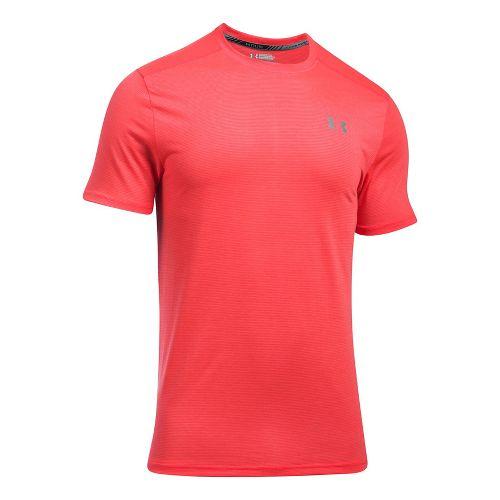 Mens Under Armour Threadborne Streaker Short Sleeve Technical Tops - Marathon Red XXL