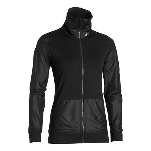 Womens Under Armour Studio Essential Warm Up Unhooded Jackets - Black L