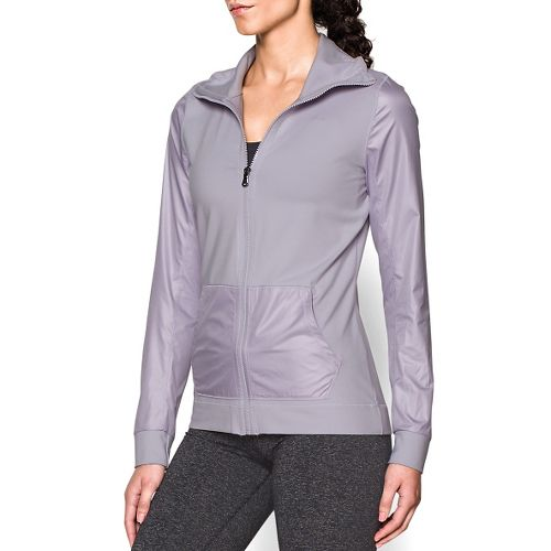 Womens Under Armour Studio Essential Warm Up Unhooded Jackets - Cloud Grey XS