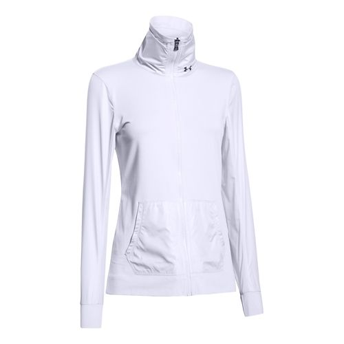 Womens Under Armour Studio Essential Warm Up Unhooded Jackets - White S