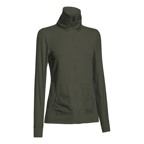 Womens Under Armour Studio Essential Warm Up Unhooded Jackets - Downtown Green XS