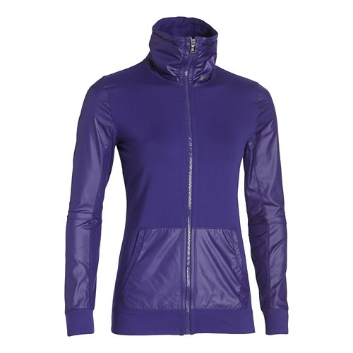 Womens Under Armour Studio Essential Warm Up Unhooded Jackets - Europa Purple S