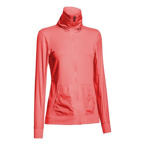 Womens Under Armour Studio Essential Warm Up Unhooded Jackets - Coho M