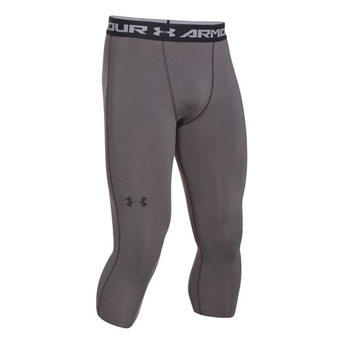 Mens Under Armour HeatGear 3/4 Compression Legging Capri Tights - Heather/Black L