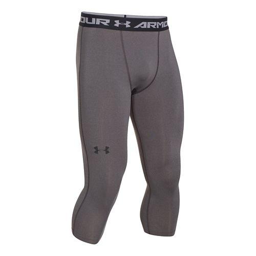 Mens Under Armour HeatGear 3/4 Compression Legging Capri Tights - Heather/Black XL