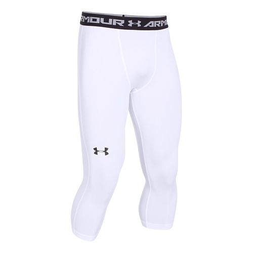 Mens Under Armour HeatGear 3/4 Compression Legging Capri Tights - White/Black XXL