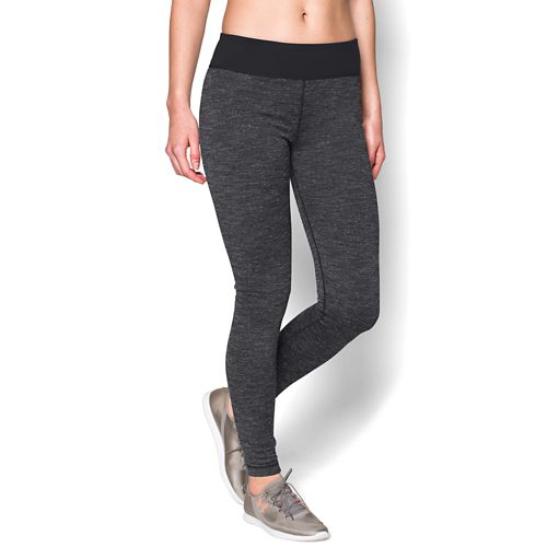Womens Under Armour Studio Tweed legging Full Length Tights - Black/Pewter M