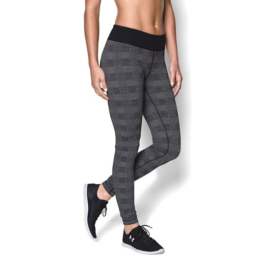 Womens Under Armour Menswear Plaid Legging Full Length Tights - Black/Carbon XS