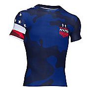 Mens Under Armour Freedom NYPD Compression Shirt Short Sleeve Technical Tops