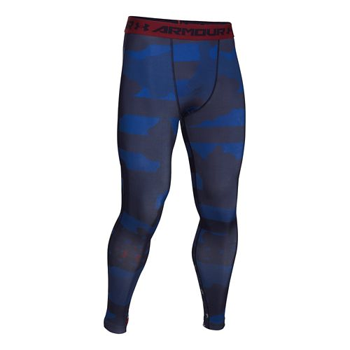 Mens Under Armour Freedom USA Compression Legging Full Length Tights - Midnight Navy/Red L