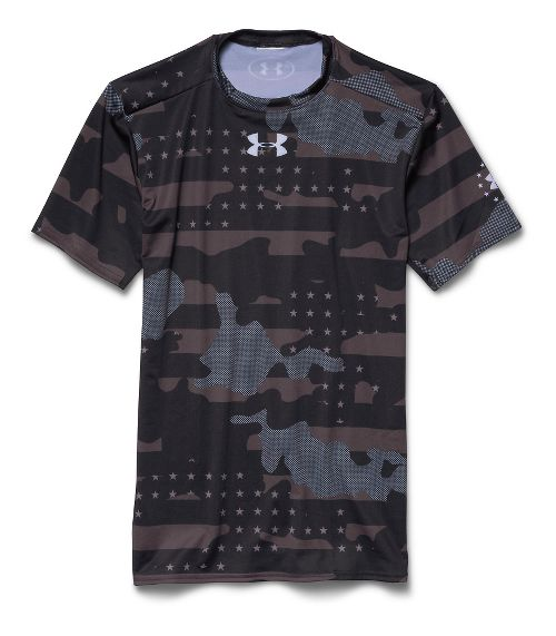 Mens Under Armour Freedom Camo Compression Shirt Short Sleeve Technical Tops - Black/White XXL
