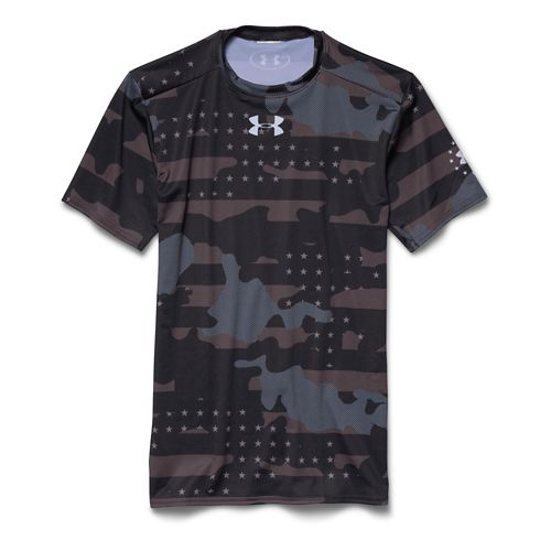 Mens Under Armour Freedom Camo Compression Shirt Short Sleeve Technical Tops - Black/White L