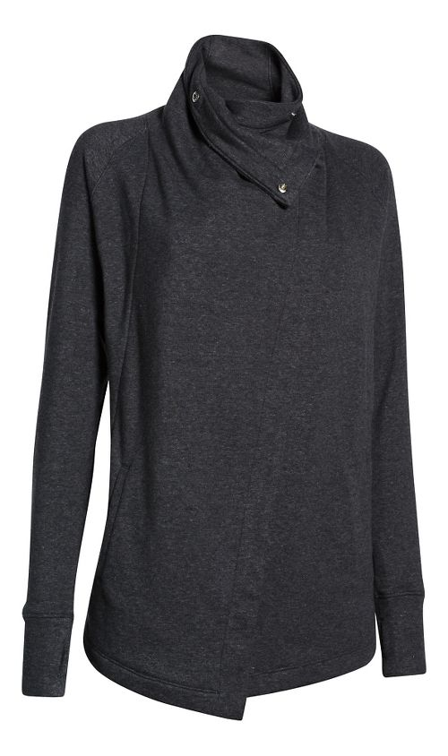 Womens Under Armour Studio Wrap Long Sleeve Sweater Technical Tops - Black/Pewter L