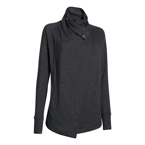 Womens Under Armour Studio Wrap Long Sleeve Sweater Technical Tops - Black/Pewter M
