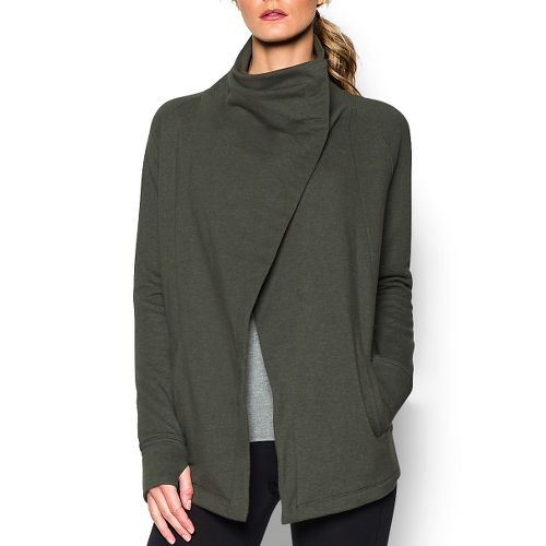 Womens Under Armour Studio Wrap Long Sleeve Sweater Technical Tops - Downtown Green M