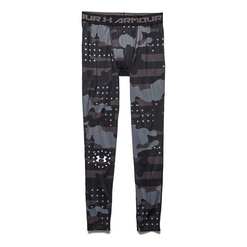 Mens Under Armour Freedom Camo Compression Legging Full Length Tights - Black/White L