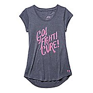 Womens Under Armour Power in Pink Go Fight Cure T Short Sleeve Technical Tops