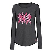 Womens Under Armour Power in Pink Triple Ribbon Long Sleeve No Zip Technical Tops