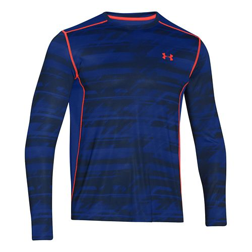 Mens Under Armour Raid T Long Sleeve No Zip Technical Tops - Cobalt/Orange XXL