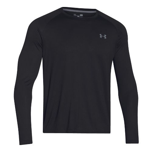 Mens Under Armour Tech T Long Sleeve No Zip Technical Tops - Black/Steel XL