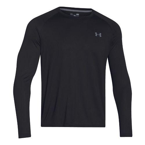Mens Under Armour Tech T Long Sleeve No Zip Technical Tops - Black/Steel XXL