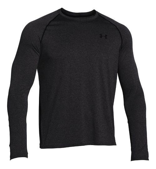 Mens Under Armour Tech Tee Long Sleeve Technical Tops - Carbon Heather/Black S