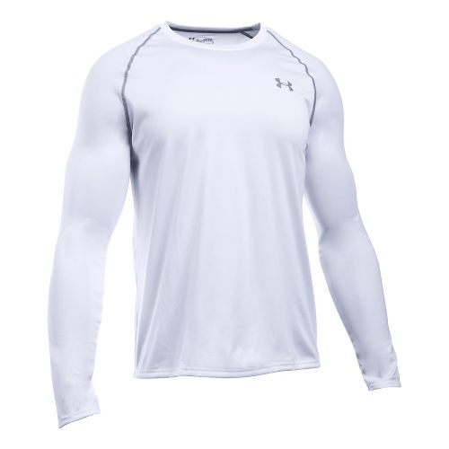 Mens Under Armour Tech T Long Sleeve No Zip Technical Tops - White/Steel S