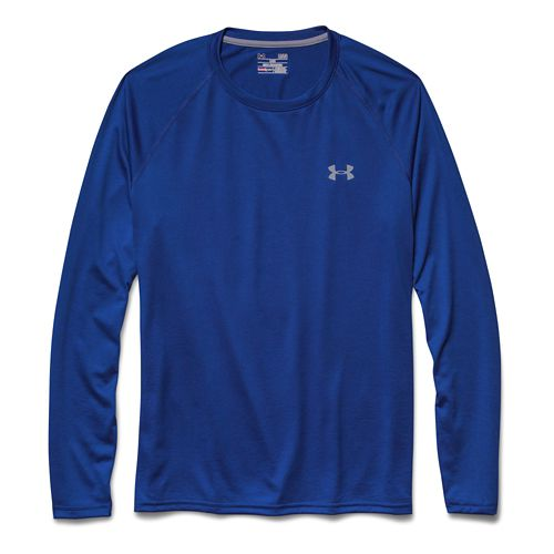 Mens Under Armour Tech T Long Sleeve No Zip Technical Tops - Royal/Steel XXL