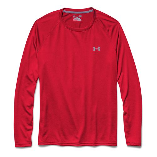 Mens Under Armour Tech T Long Sleeve No Zip Technical Tops - Red/Steel M