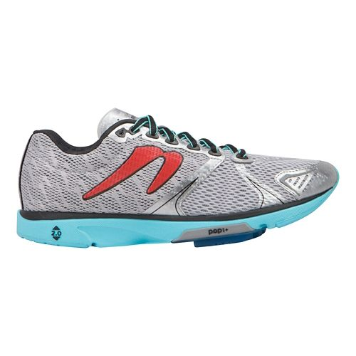 Womens Newton Running Distance V Running Shoe - Silver/Aqua 9.5