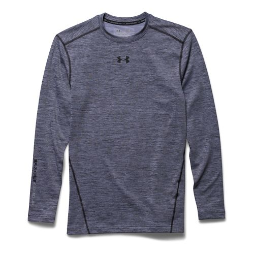 Mens Under Armour ColdGear Armour Twist Compression Crew Long Sleeve Technical Tops - ...