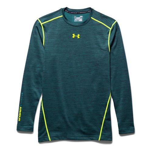 Mens Under Armour ColdGear Armour Twist Compression Crew Long Sleeve Technical Tops - Legion ...