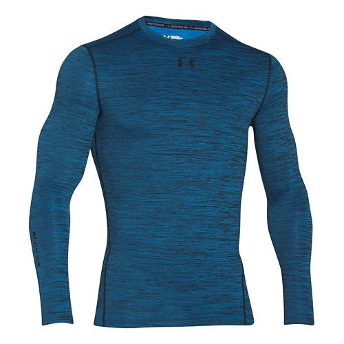 Mens Under Armour ColdGear Armour Twist Compression Crew Long Sleeve Technical Tops - Blue ...