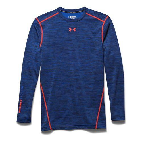 Mens Under Armour Coldgear Armour Twist Compression Crew Long Sleeve No Zip Technical Tops - ...