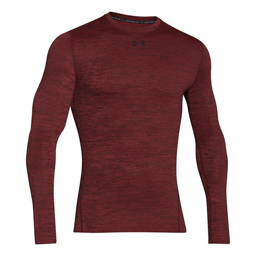 Mens Under Armour ColdGear Armour Twist Compression Crew Long Sleeve Technical Tops - Red/Black M