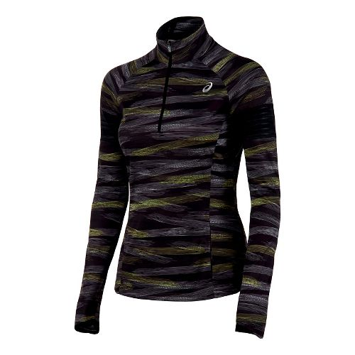 Womens ASICS Lite-Show 1/2 Zip Long Sleeve Technical Tops - Black M
