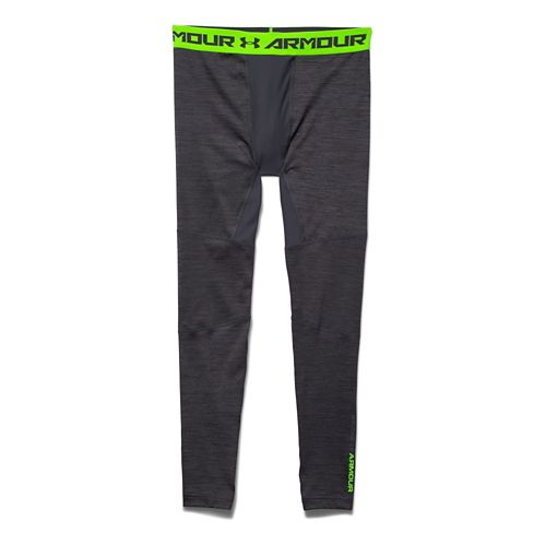 Mens Under Armour ColdGear Armour Twist Compression Leggings Tights - Stealth Grey/Green S