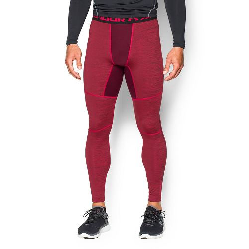 Mens Under Armour ColdGear Armour Twist Compression Leggings Tights - Red/Black L