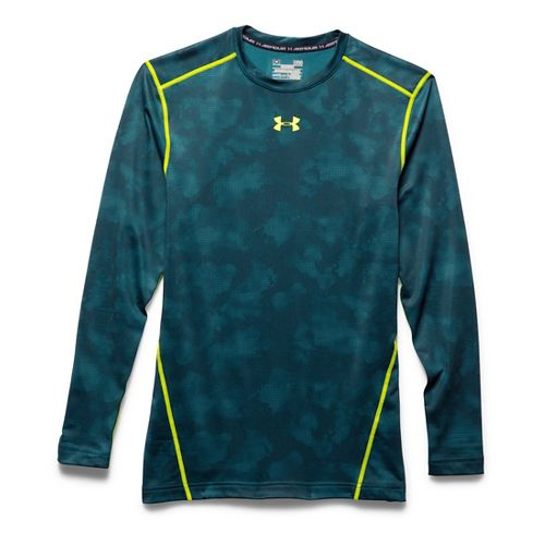 Mens Under Armour Coldgear Armour Printed Compression Crew Long Sleeve No Zip Technical Tops - ...