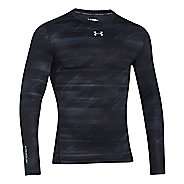 Mens Under Armour Coldgear Armour Printed Compression Crew Long Sleeve No Zip Technical Tops