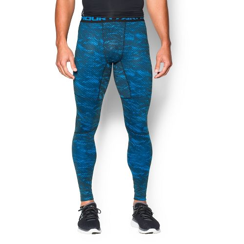 Mens Under Armour ColdGear Armour Printed Compression Leggings Tights - Black/Blue S