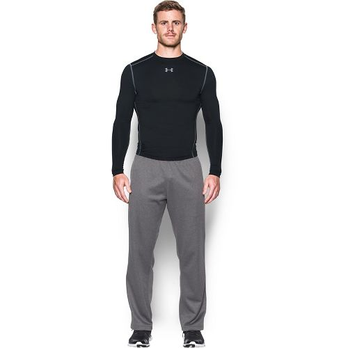 Mens Under Armour ColdGear Compression Crew Long Sleeve Technical Tops - Black/Steel M