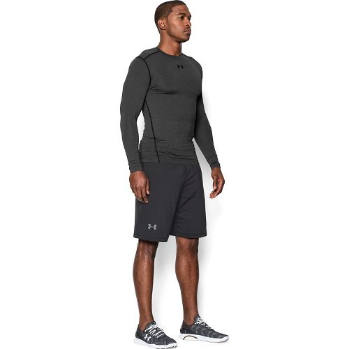 Mens Under Armour ColdGear Compression Crew Long Sleeve Technical Tops - Carbon Heather/Black L