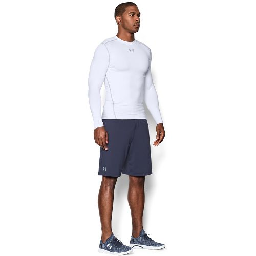 Mens Under Armour ColdGear Compression Crew Long Sleeve Technical Tops - White/Steel L