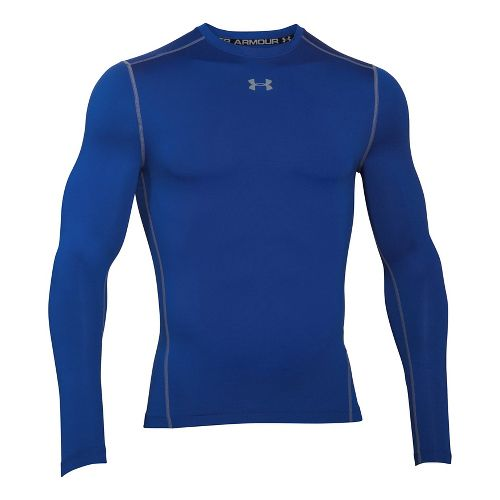 Mens Under Armour ColdGear Compression Crew Long Sleeve Technical Tops - Royal/Steel XXL
