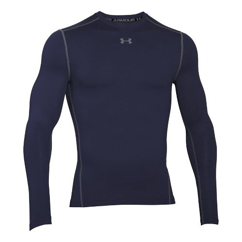 Mens Under Armour ColdGear Compression Crew Long Sleeve Technical Tops - Midnight Navy/Steel L