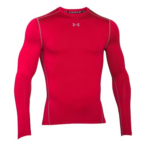 Mens Under Armour ColdGear Armour Compression Crew Long Sleeve Technical Tops - Red/Steel L