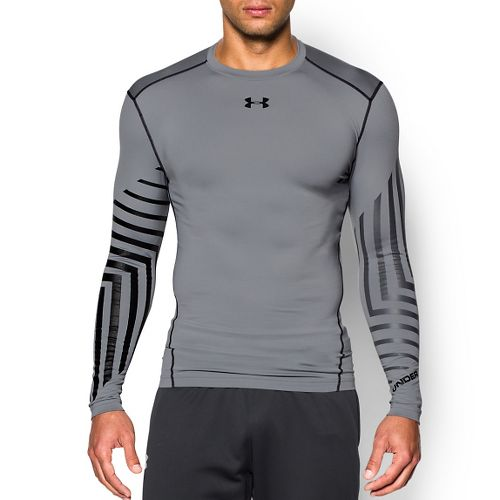 Mens Under Armour ColdGear Armour Graphic Compression Crew Long Sleeve Technical Tops - ...