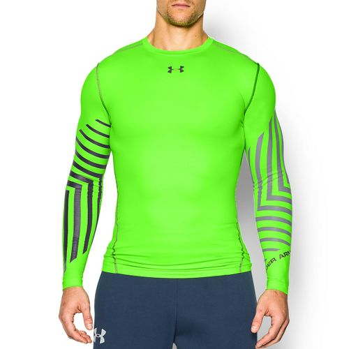 Mens Under Armour ColdGear Armour Graphic Compression Crew Long Sleeve Technical Tops - Hyper ...